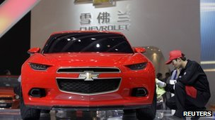 A Chevrolet car on display at a car show in Beijing last month