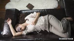 Woman asleep with eye mask