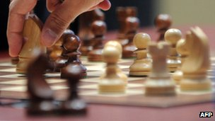 """India""""s Vishwanathan Anand plays during a tie-break of FIDE World chess championship match against Israel""""s Boris Gelfand in State Tretyakovsky Gallery in Moscow on May 30, 2012"""