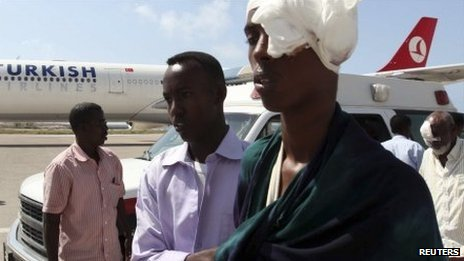 Patients at Mogadishu airport - 6 October 2011