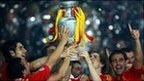 Spain lift the European Championship trophy in 2008