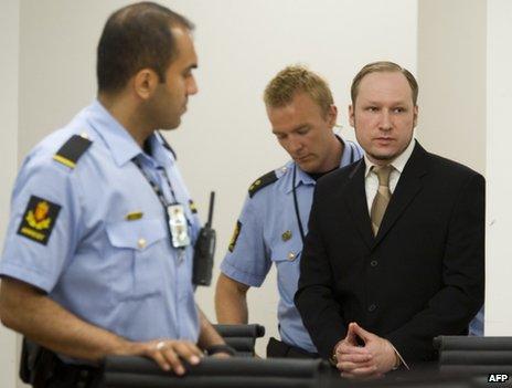 Anders Behring Breivik in court in Oslo, 29 May