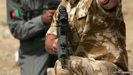 British military policeman training Afghan policemen