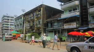 Run-down buildings in Rangoon