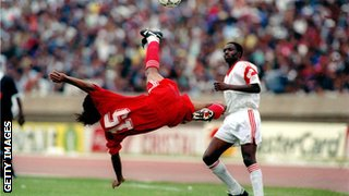 Morocco host Zambia in a crucial 1994 World Cup qualifier, which the Atlas Lions won 1-0