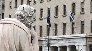 Statue of Socrates outside the Bank of Greece in Athens