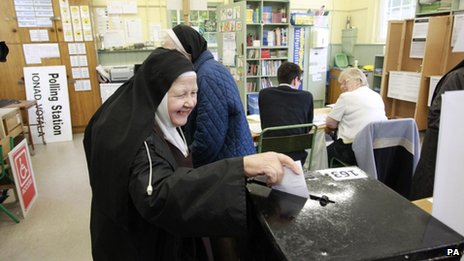 A nun votes in Dublin, 31 May