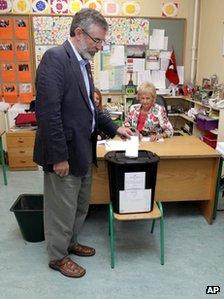Sinn Fein president Gerry Adams votes in Dundalk, Republic of Ireland, 31 May