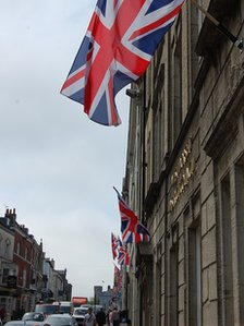 Union flags outside buildings