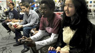 Emily Chow (right) and fellow gamers