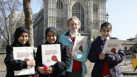 BBC school reporters outside Westminster