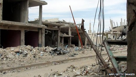 Destruction in Rastan on 16 May (image from Syrian opposition Shaam News Network)