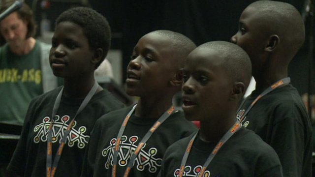 Members of the choir from Kenya and Uganda