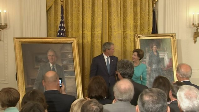 President George W Bush and First Lady Laura Bush at the White House 31 May 2012