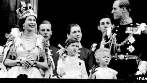 Queen Elizabeth II and the Duke of Edinburgh with members of the Royal Family on the balcony at Buckingham Palace after her Coronation at Westminster Abbey on 2 June 1953