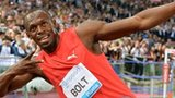 Usain Bolt celebrates his victory in Rome