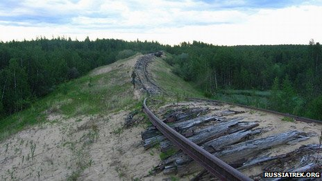 Exposed track of Salekhard-Igarka railway
