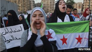 Protest in Cairo, Egypt, against the Syrian regime