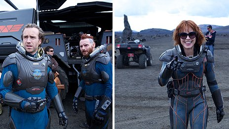 Rafe Spall and Sean Harris (right) on set and Noomi Rapace