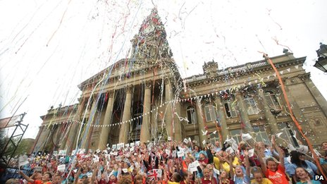 Celebrations at the torch relay in Bolton