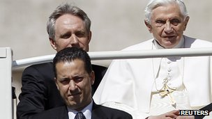 (File photo) Pope's butler, Paolo Gabriele (bottom left) with Pope Benedict XVI (right)