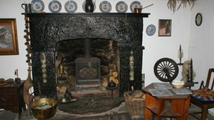 Fireplace inside Ty Hyll (Ugly House)