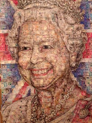 portrait of the Queen, created from hundreds of banknotes, has gone