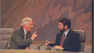 Gay Byrne in his famous 'frosty' interview with Gerry Adams