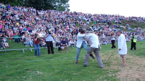 Shin kicking event at the Cotswold Olimpicks