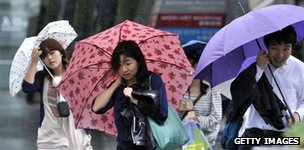 Japan pedestrians in rain