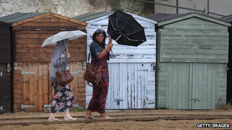 Women with umbrellas