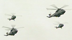Helicopters in diamond formation