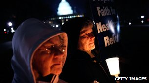 Sisters of the Leadership Conference of the Women Religious hold a vigil in support of the public option on healthcare reform, Washington, DC 8 December 2009