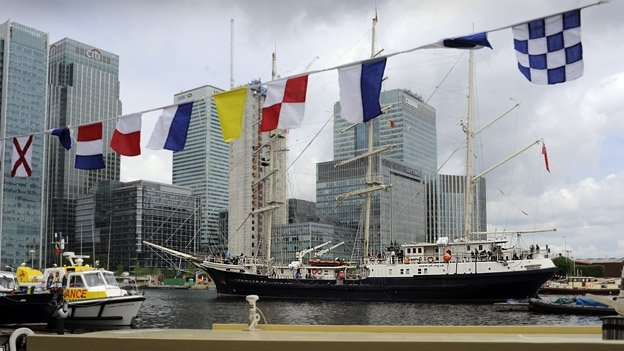 Tenacious arrives at West India Docks