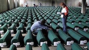 Coffins of Srebrenica victims - file pic