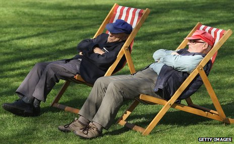 Pensioners enjoy sunshine