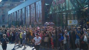Crowds outside St John's Market in Liverpool