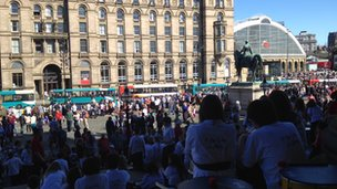 View from stage at St George's Hall to Lime Street