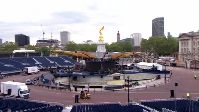 The Queen's Jubilee concert stage at Buckingham Palace