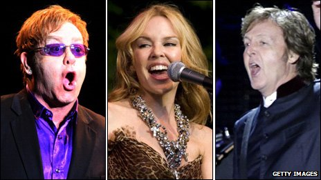 Sir Elton John, Kylie Minogue and Sir Paul McCartney