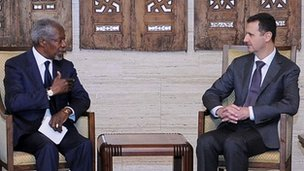 Kofi Annan and President Bashar Assad in Damascus, 29 May 2012