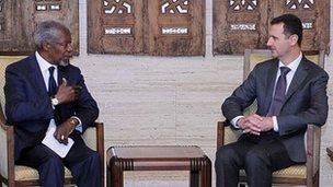 Kofi Annan and President Bashar Assad in Damascus, 29 May 2012