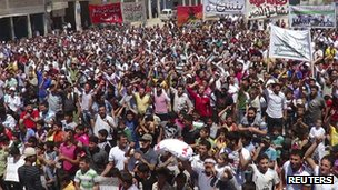 Demonstrators in Syria, photo provided by the opposition's Shaam News Network, 1 June 2012