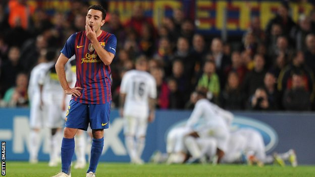 Xavi dejected as Chelsea beat Barcelona