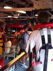 Torch on RNLI boat