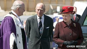 Royal visit 2005: Bailiff Sir de Vic Carey, Prince Philip and Queen Elizabeth