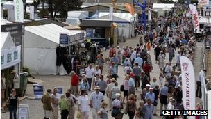 Visitors walk around the Royal Bath and West Show
