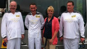 Laxey torchbearers pose for the camera