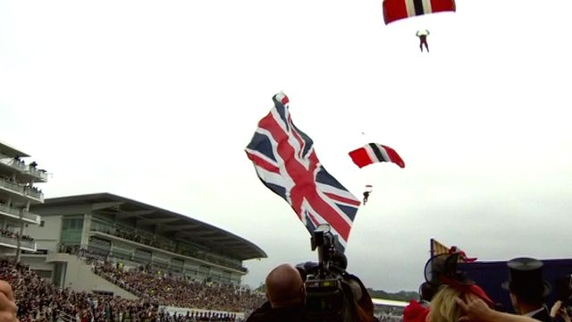 Skydivers land at Epsom Racecourse