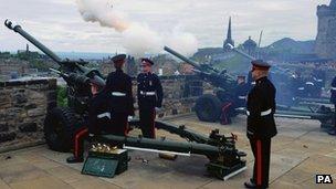 Royal salute at Edinburgh Castle